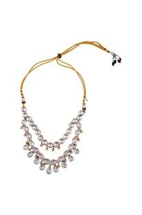Gold polished & swarovski crystal choker
