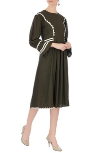 Army green linen panelled dress