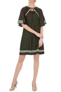 Army green hand-applique work dress