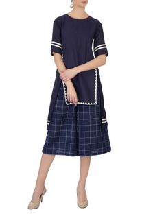 Blue checkered linen culottes