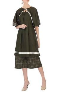Army green check culottes