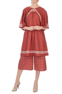 Coral linen flared culottes