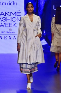 Ivory hand woven silk & khadi jacket with trousers