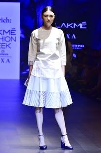White hand-woven silk & khadi tunic with circular skirt