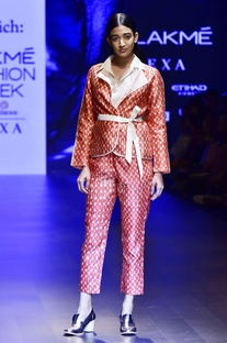 Red hand woven jacket with shirt & trousers