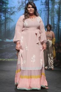 Light pink silk georgette striped maxi dress