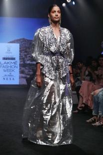 Silver silk & poly viscose gathered maxi dress