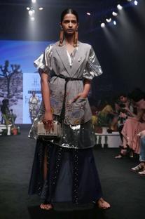 Silver silk & poly viscose gathered midi dress
