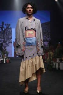 Cornflower yellow cotton embroidered asymmetric skirt