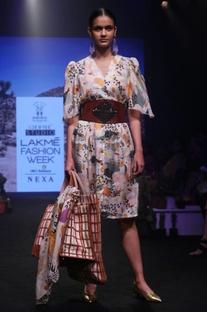 Multicolored koya jungle printed pure silk dress
