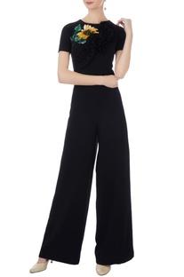 Black moss crepe embroidered jumpsuit
