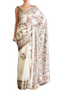 Off white pink shaded chiffon floral sari