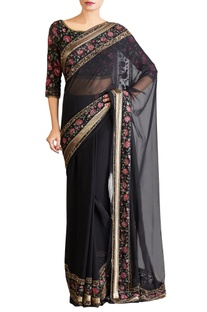 Black pink shaded chiffon floral sari with blouse