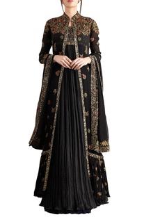 Black chiffon boota embroidered jacket with kurta lehenga