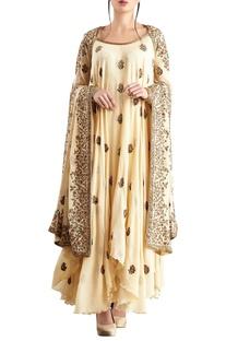 Yellow chiffon boota embroidered kurta set