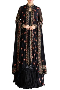 Black chiffon mukaish jacket with kurta lehenga set