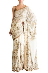 Off white chiffon iranian sari with blouse