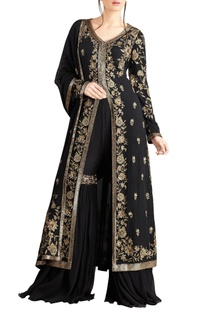 Black iranian zari work jacket set
