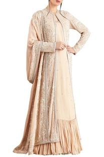 Blush pink lucknowi pearl & crystal stud embellished jacket set