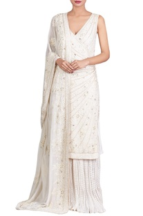 Off-white lucknowi pearl & sequin embellished kurta set