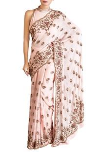 Pink chiffon sequin sari with blouse