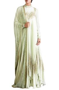 Mint green sequin embellished kurta set