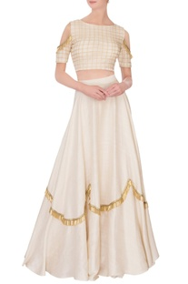 Cream flared lehenga with cold-shoulder blouse