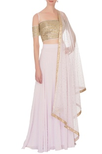 Mauve pearl lehenga with cold-shoulder blouse & dupatta