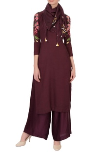 Wine red linen georgette embroidered kurta set with scarf