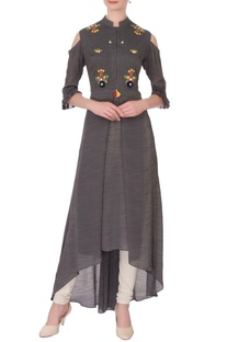 Grey linen silk embroidered kurta