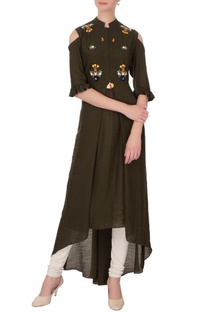 Olive green linen silk embroidered kurta