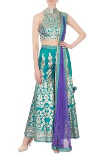 Turquoise satin silk printed & zircon work sharara set