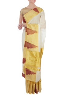 Cream & gold handloom sari with unstitched blouse fabric