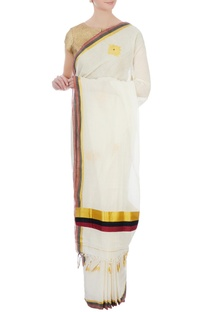 Cream & gold floral motif handloom sari with unstitched blouse fabric