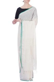 Cream & silver handloom pure cotton & tissue sari with unstitched blouse fabric