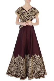 Marsala raw silk overlap blouse & lehenga