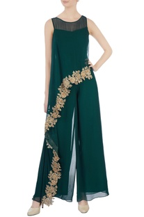 Bottle green asymmetric jumpsuit