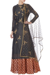Black chanderi kurta with skirt & dupatta