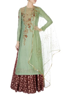 Green chanderi kurta with skirt & dupatta