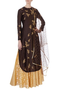 Brown sequin kurta & skirt set