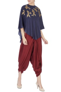 Brown halter blouse with dhoti pants & indigo cape