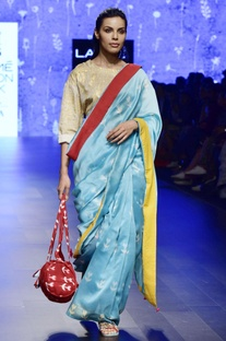 Blue clamp dyed chanderi sari
