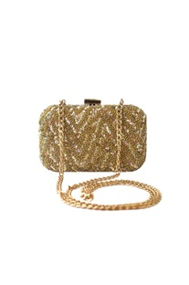 Gold sequin embellished clutch with long chain