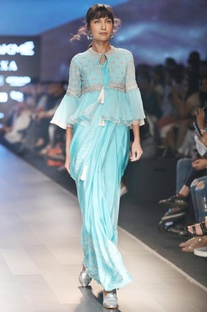 Blue sari with bustier & front open jacket