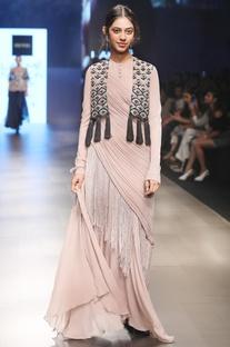 Beige chiffon concept sari with net tassel jacket