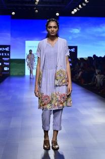 Blue khadi floral embroidered kurta