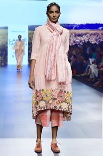 Pink handwoven khadi embroidered tunic