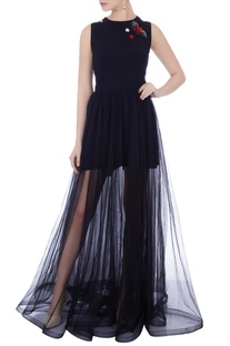 Navy blue moss crepe & tulle embroidered jumpsuit dress