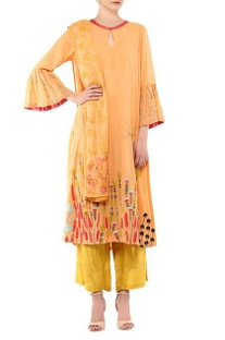 Orange cotton & shantoon embroidered kurta set