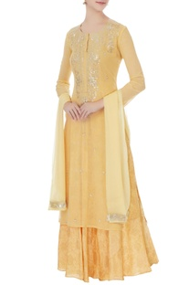 Mango yellow chiffon hand embroidery kurta, skirt and dupatta